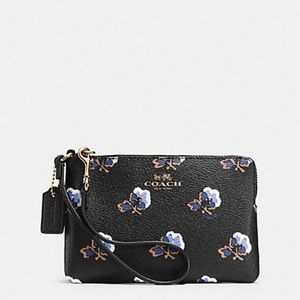 Coach Bramble Rose Black Leather Wristlet